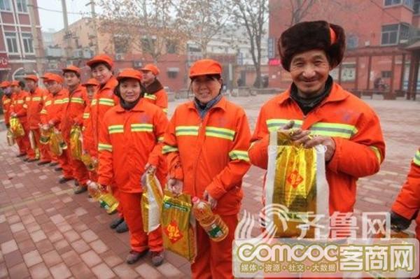 �P�郗h�l工人、�鬟f公益力量――山�|省�x江商��寒冬送�嘏�