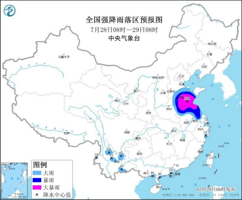 """热带低压""""烟花""""继续北上 苏皖鲁冀等地将有强降雨"""